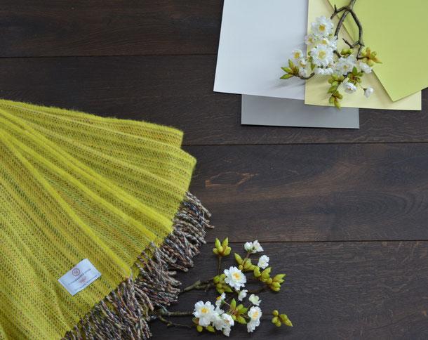 Farbkombination Schurwolldecke gelb, Parkett dunkel geräuchert und den Farben gelb und weiß