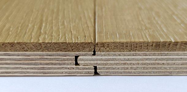 Aufbau Eichendiele - Multiplexplatte mit 4,5 mm Eiche, Gesamtdicke 16 mm