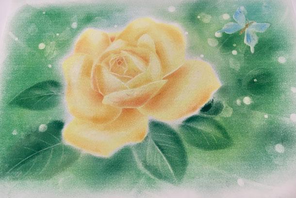 黄色い薔薇のパステルアート こころんカラー 糸島