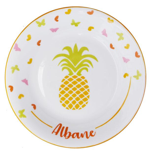 Assiette ananas colorée pour enfant personnalisée
