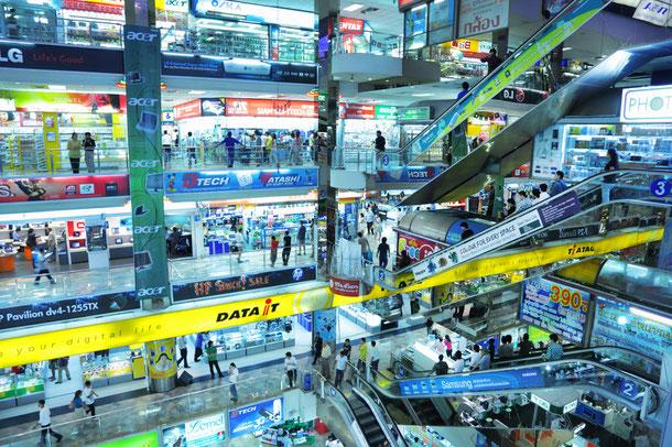 Pantip Plaza in Bangkok - hier können Sie Unterhaltungselektronik wie Handys, Kameras und Pc´s günstig kaufen.