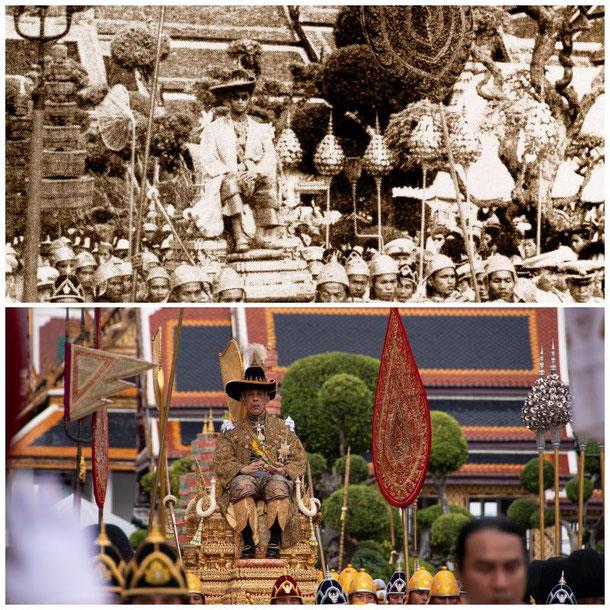Hier zu sehen wie König Bhumibol Adulyadej Rama IX 1950 gekrönt wurde und 2019 sein Sohn König Vajiralongkorn Rama 10