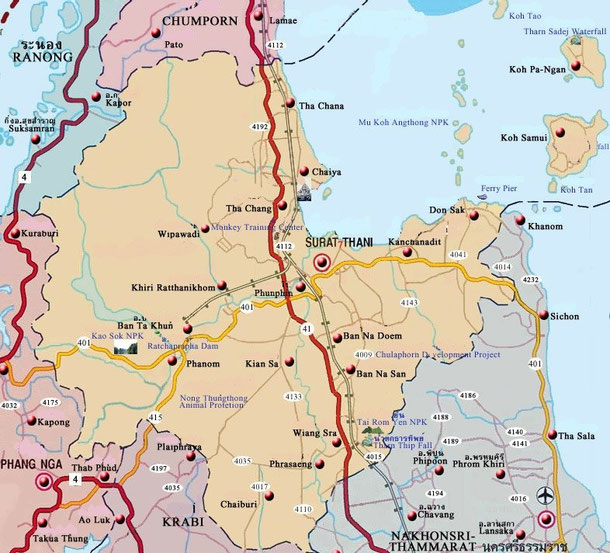Surat Thani Karte