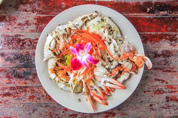 Gedämpfte Krabben und Meeresfrüchte Thailand Kochkurs