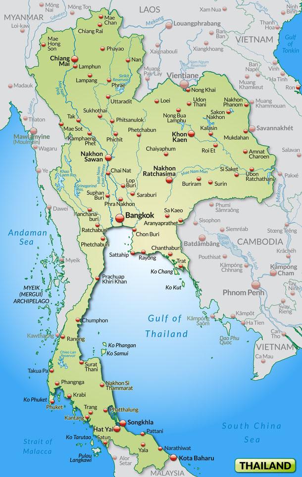 Geographie Thailands: Thailand Karte