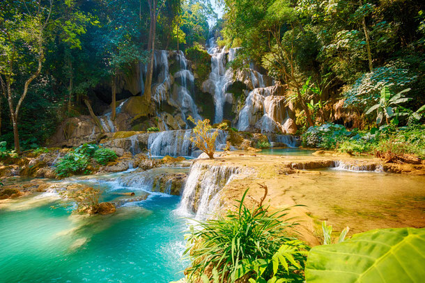 Kuang Si Waterfall in Luang Prabang, Laos.