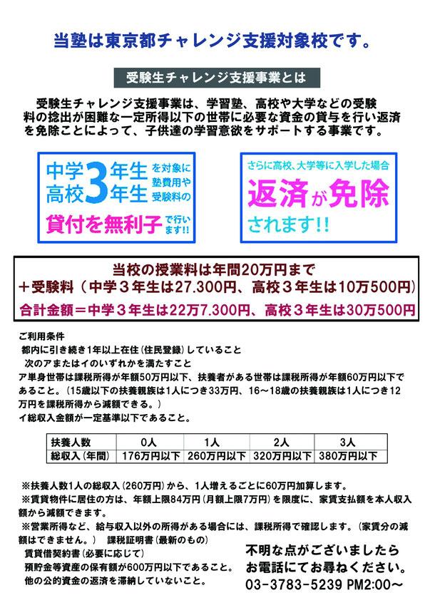 東京都チャレンジ支援とは中学部