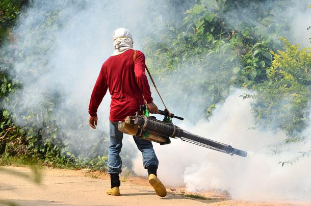 Nebelwerfer zum Schutz gegen Dengue Fieber übertragende Mücken.