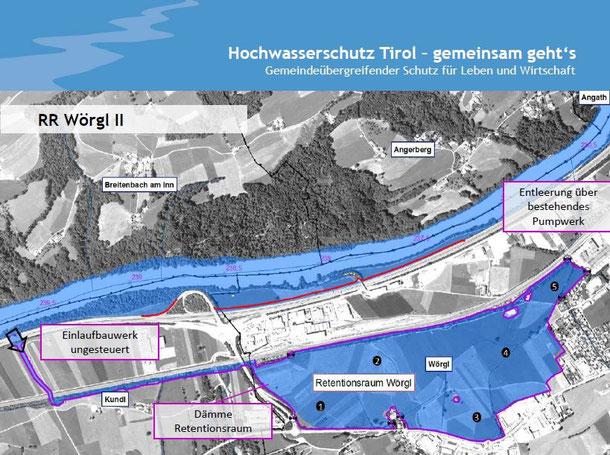 """Foto: Land Tirol;  die Möglichkeit eines Retentionsraumes in Wörgl (blau eingezeichnet), die Stadtpolitiker sichern sich ihre Flächen zur Verbauung mit """"Scheinargumenten"""". Dafür müssen ev. Höfe in Kundl/Radfeld und Angath ausgesiedelt werden."""