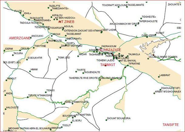 Cartes de communes de Ouarzazate