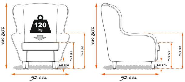 Supellex Ohrensessel.com Ohrensessel Hocker Maße Abmessungen Belastbarkeit kg