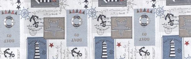 Patchwork maritime Motive, Leuchtturm, Anker, blau