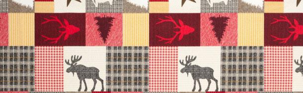 Supellex Sofia Ohrensessel, Fernsehsessel mit Armlehnen und Hocker Design: Schwedisch-Landhaus Patchwork, Elch, Hirsch, Rot