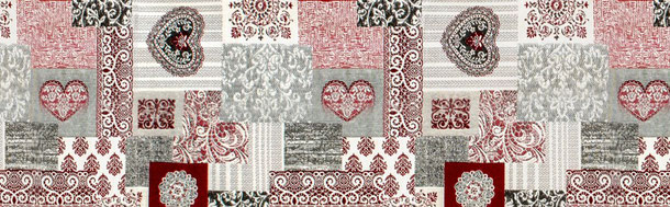 Patchwork Ornamente, Herz, rot