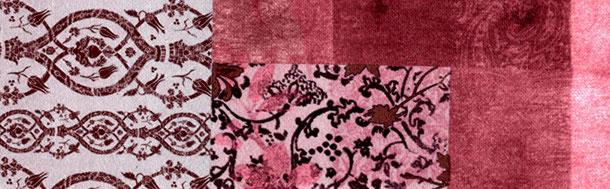 Supellex Sofia Ohrensessel, Fernsehsessel mit Armlehnen und Hocker Design: Samt-Velours, Patchwork Floral rot