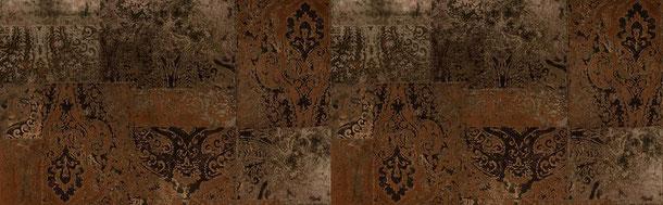 Patchwork Ornamente, bronze, braun