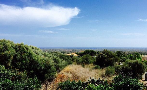 Aussicht von der Dachterrasse(ARTE CHALET), über die Mondragó bis zum Meer