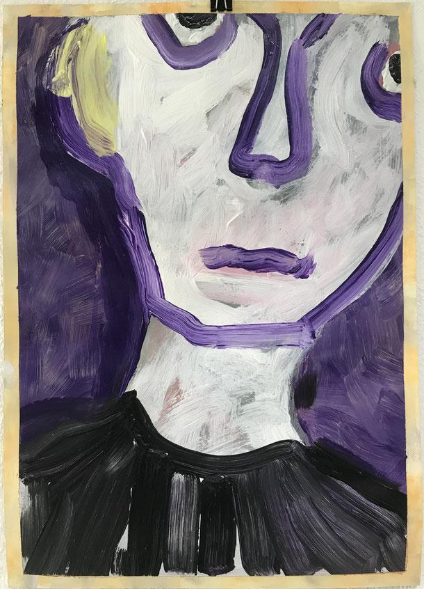 Tristesse , Acrylic on paper / 51 x 36 cm / 2019 /150