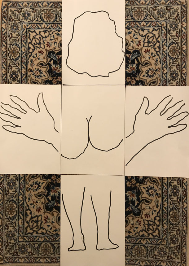 Nude variation I, indian ink on paper, 5 x ( 29,7 x 21 cm ), 2020, 2