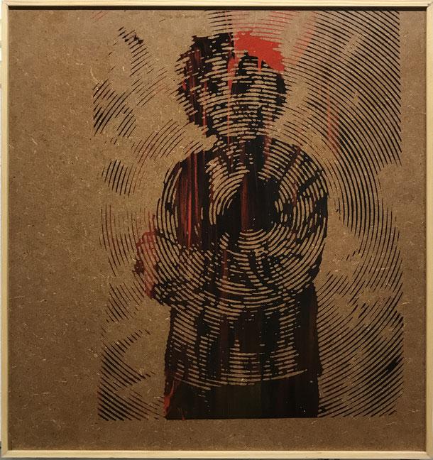 O.T. screen print on MDF-plate, 33 x 30 cm, 2019, 159