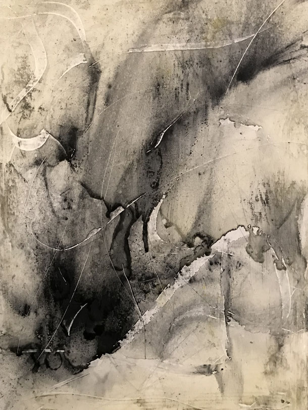 Deep in the canyon, graphite on canvas, 40 x 30 cm, 2019, 158
