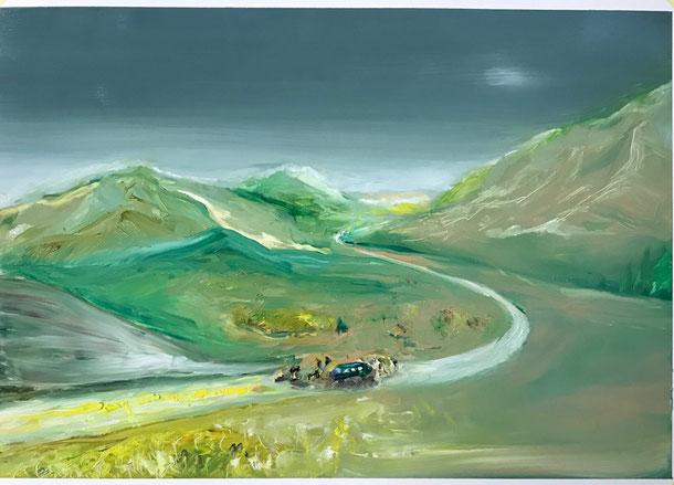 Unexpected Stop, oil on Lanavangard, 34 x48 cm, 2020, 4