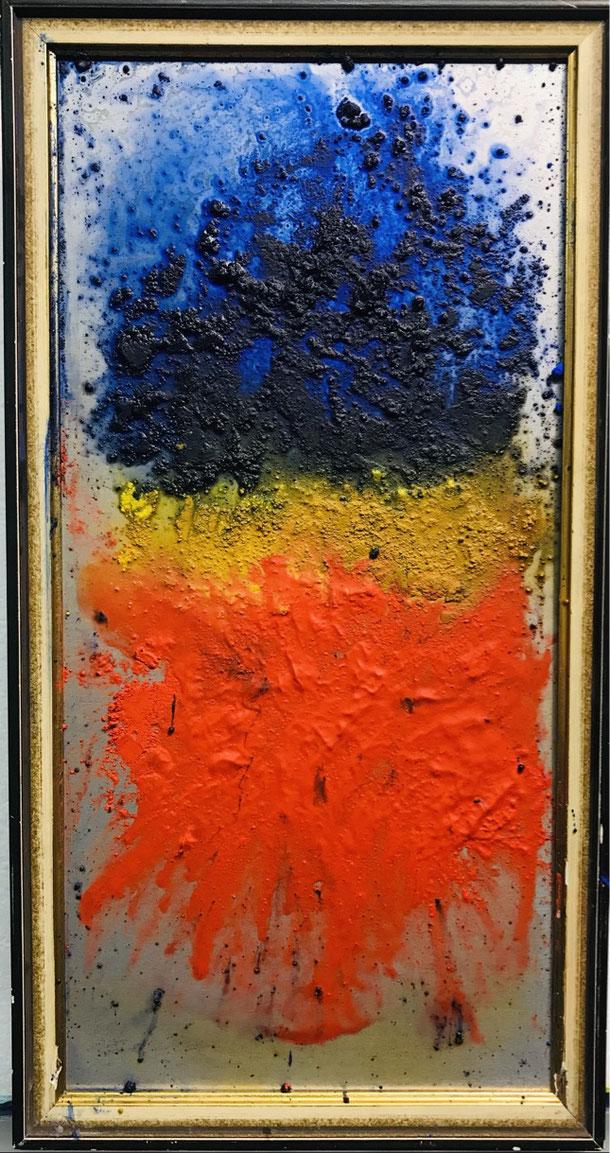 The third day, pigment/wax, on Al sheet, 39 x 18 cm, 2021, 16
