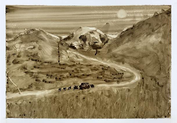 Unexpected stop, Pitch on Lanavanguard, 34 x 48 cm, 2019 , 157