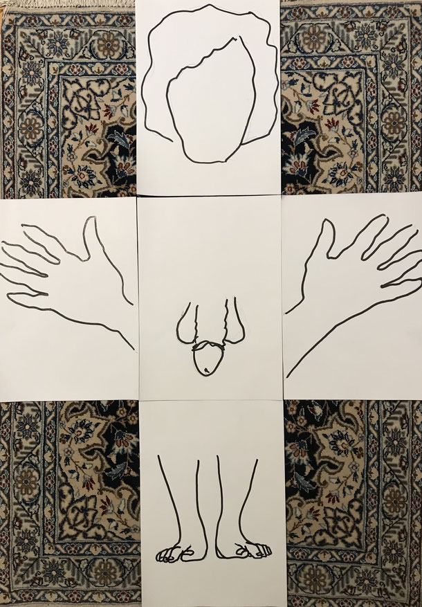Nude Variations II, indian ink on paper, 5 x ( 29,7 x 21 cm ) 2020, 3
