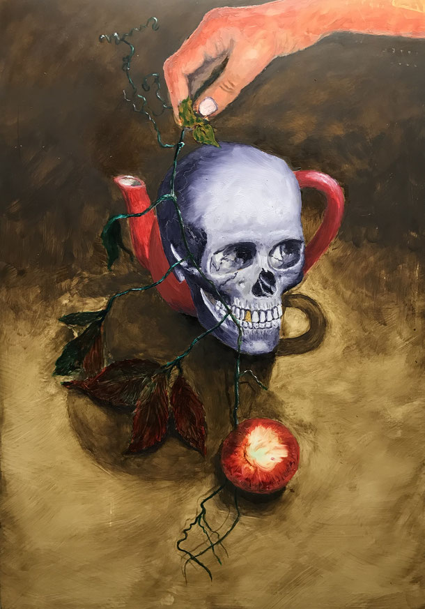 Memento mori, Oil on paper / 50 x 36 cm