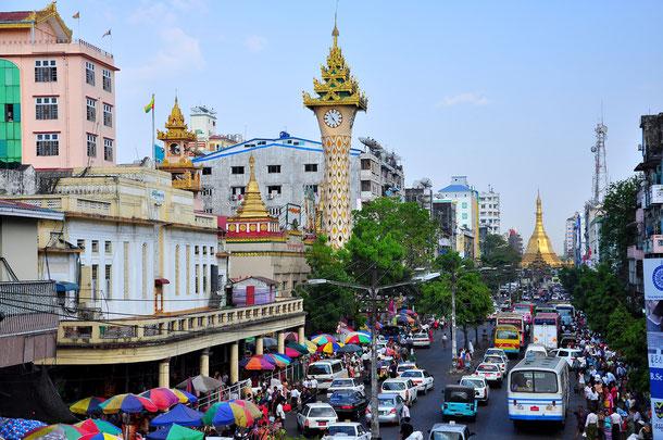 Ein letzter Bummel durch Yangon vot der Abreise.