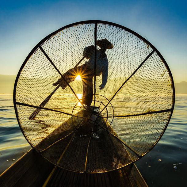 Fischer bei der Arbeit am Inlesee