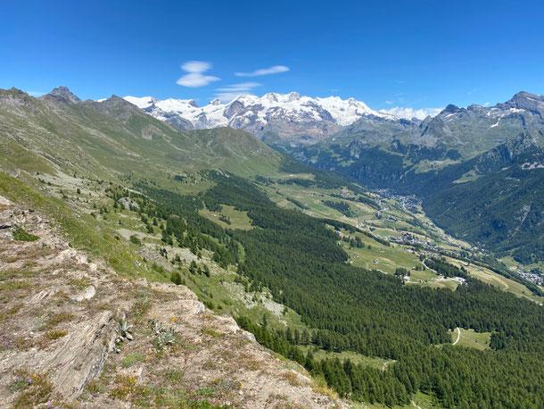 raggiunto il colle Portola -con non poca fatica - si apre il panorama sulla Val D'Ayas ed il gruppo del Monte Rosa.......... superlativo!!