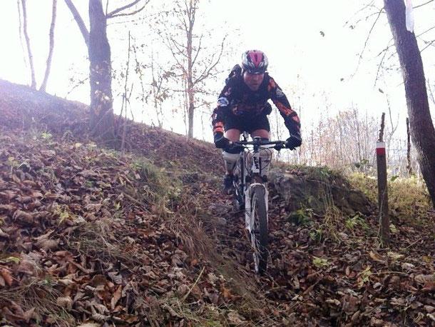 il sentiero  segue nel bosco reso assai pericoloso dallo strato di foglie adagiate su pietre fisse e umide!!!
