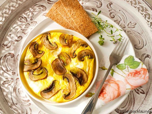 Eier mit Pilzen zum Frühstück