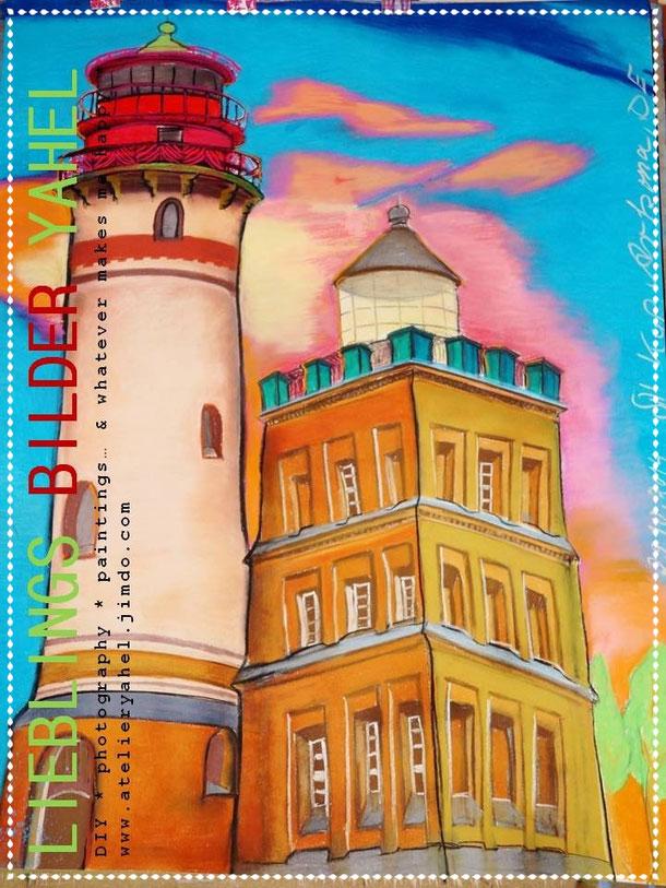 Gittes Leuchtturm Kap Arkona, Pastellkreide auf Papier, 100x70cm, 2014