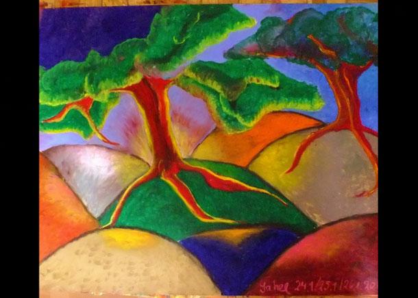 VERKAUFT, Der letzte Baum, Ölpastell auf Papier, 70x100cm