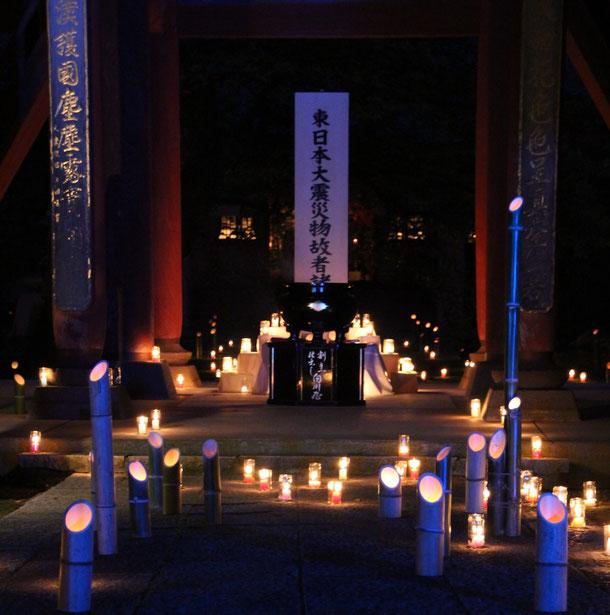 正門前 供養終了後 竹灯籠ライトアップ