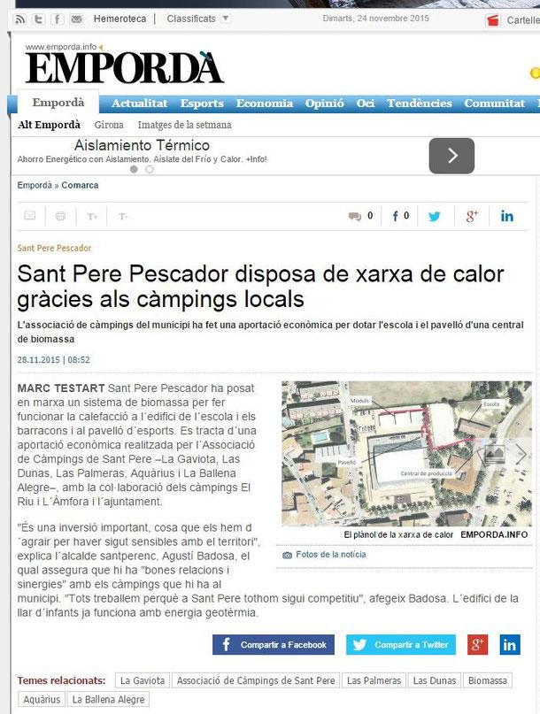 Xarxa de calor de biomassa a Sant Pere Pescador