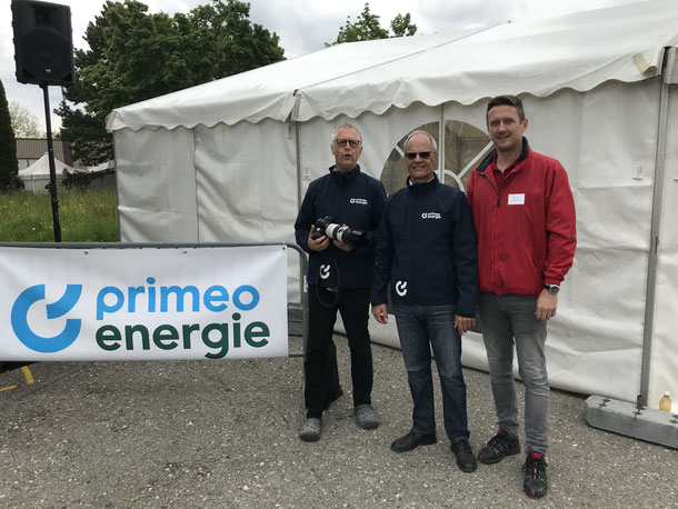 Jean Marc Tache (Primeo Energie), Andreas Wild (ASOC) und Stefan Nobs (OK-Präsdient Berner Rundfahrt).
