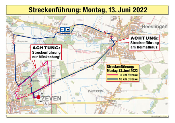 Die Streckenführung des ersten Tages, Montag der 03.06.2019