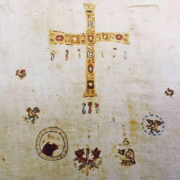 Detail des leinen Überwurfs der heiligen Balthild. Die Stickerei soll Schmuck darstellen
