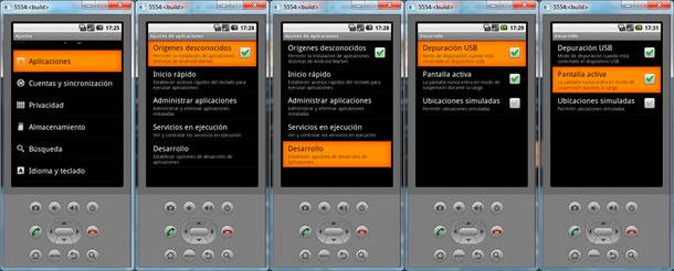 Opciones de configuración del teléfono.