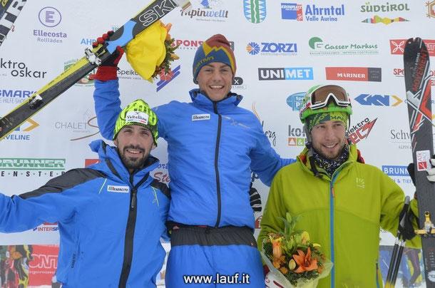 Podium Kategorie Senior männlich: 1. Michele Boscacci, 2. Antonioli Roberto, 3. Barazzuol Filippo