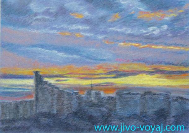 Закат над городом. Сокольники. Бумага , пастель. Работа автора