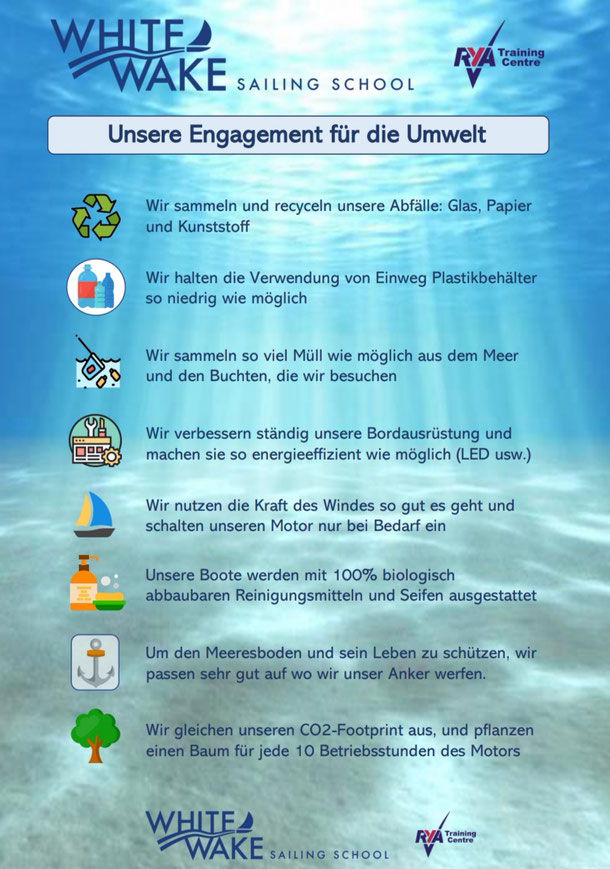 Unsere Engagement fuer die Umwelt - White Wake Sailing