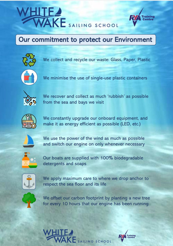 Our commitment to the environment - White Wake Sailing