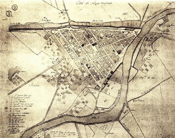 Mappa di inizio 800. E' ben visibile la chiesa di San Giovanni Lanero in piazza del Municipio, Il ponte sul Belbo è ancora in fondo, alla confluenza con il rio. Piazza Garibaldi è ancora zona di orti