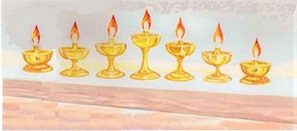 Les 7 esprits de Dieu sont les 7 lampes ardentes qui brûlent devant le trône de Dieu. Les 7 esprits qui sont devant le trône du Tout-Puissant sont 7 lampes ardentes symbolisant l'Esprit saint de Dieu en action dans sa plénitude et sa puissance maximale.