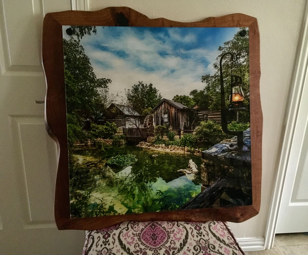free-form hand hewn Texas mesquite frame--SOLD